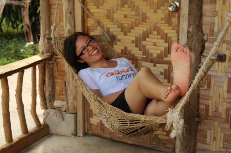 My friend Katrina posing on (in, at, by?) her hammock